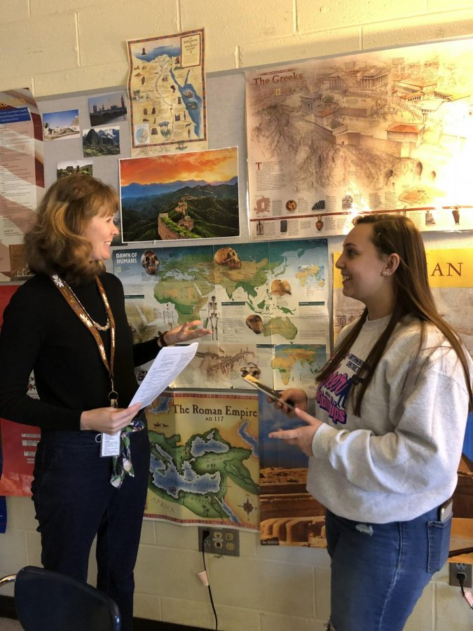 Senior Zoe Lowe and government teacher Ms. Newman discuss Zoe's community service project and her upcoming interview.
