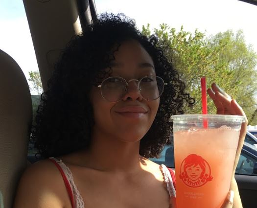 Junior Giselle is enjoying a strawberry lemonade from the Wendys in Culpeper. I really wish a Wendys would open in the Bealeton area, it is one of my favorite places, said Giselle.