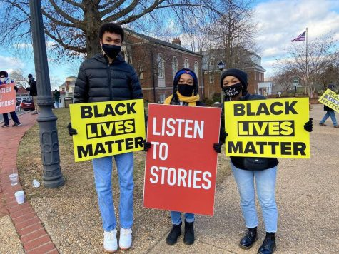 (Left to right) BSU founders Sam Rodman, Olivia Stith, and Samara Brooks are participating at a peaceful protest in Old Town Warrenton.