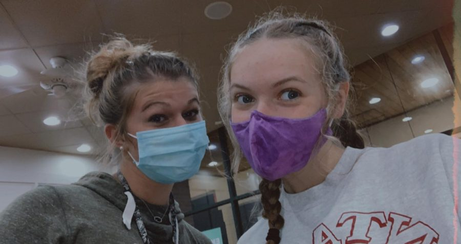(Left to right) Seniors Roni Nickerson and Keely Crane were able to see each other over the pandemic while practicing safety guidelines, like wearing masks.