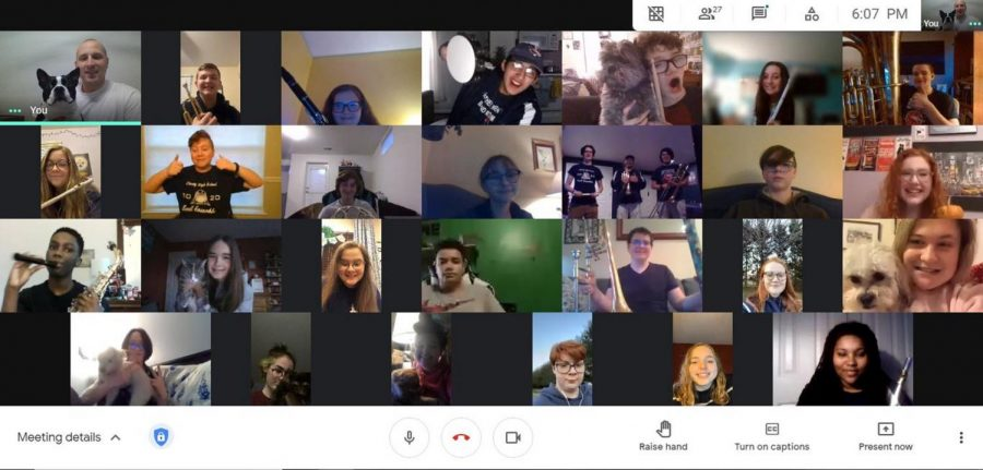 Actual picture of bands organizational Zoom meeting held the first week in March.