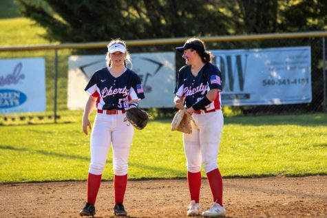 (Left to right) Pictured is senior third baseman Keely Crane and junior short stop Katelynn Lewis